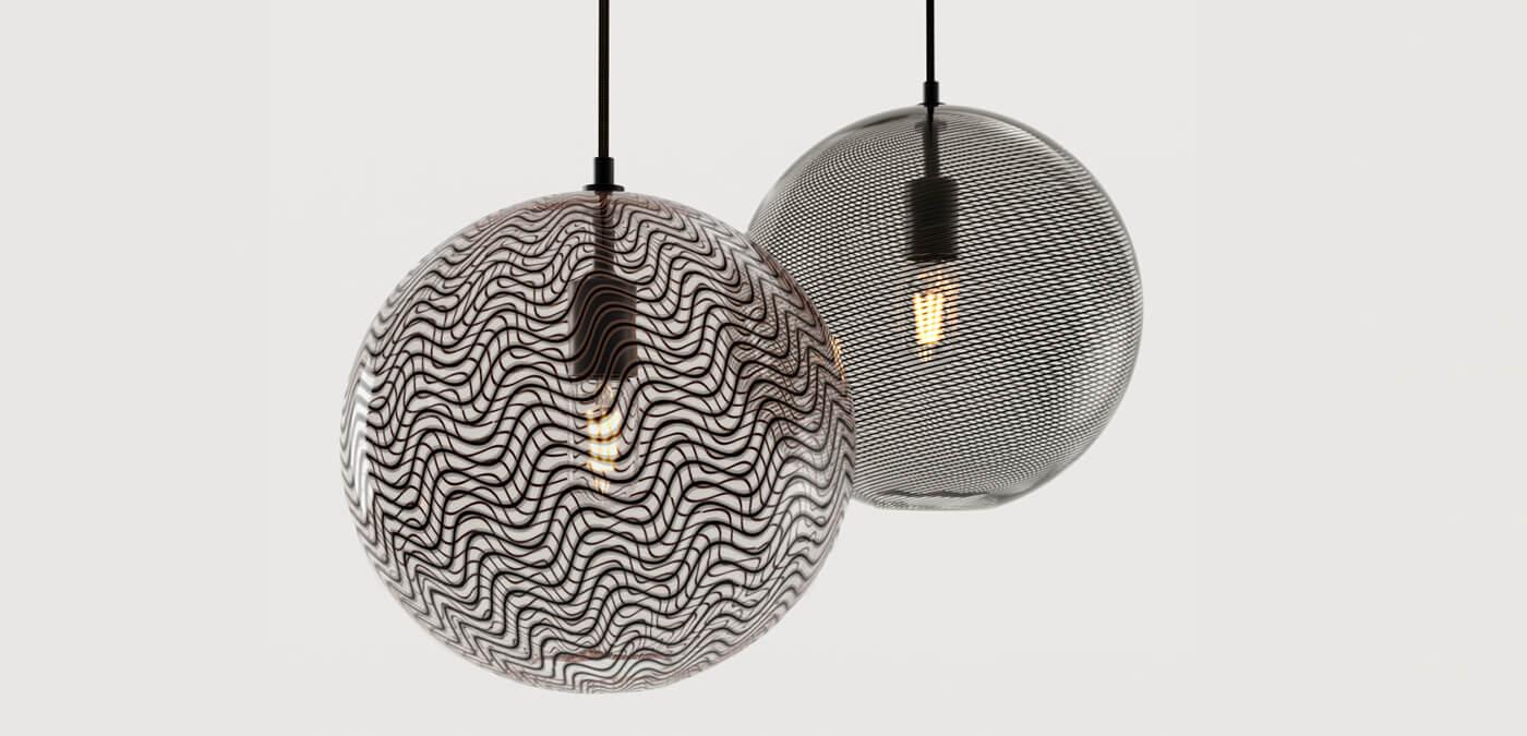 KEEP - CANE Globe Charcoal Glass Pendant Lights