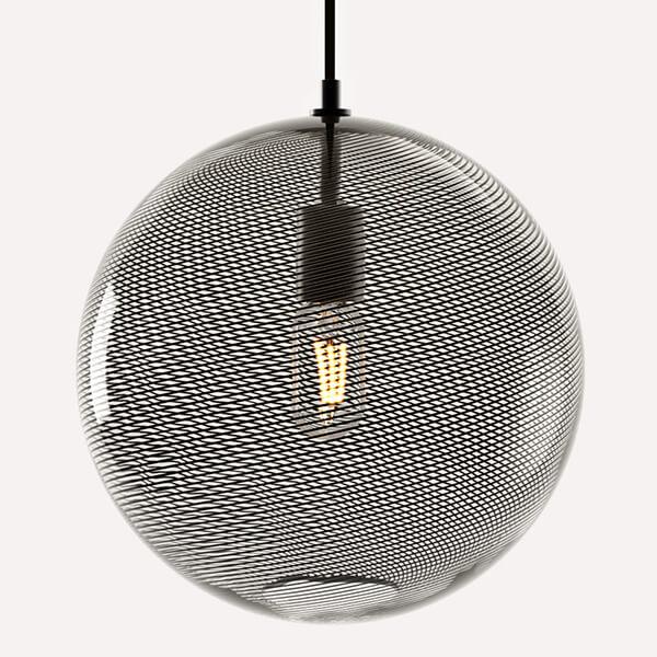 KEEP Cane Globe Pendant Light Charcoal Striped Pattern