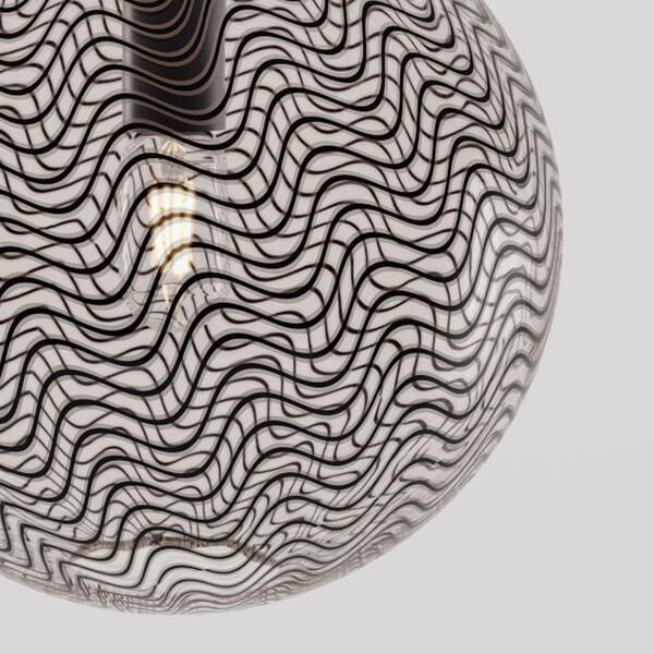 KEEP Cane Globe Pendant Light Charcoal Drift Pattern
