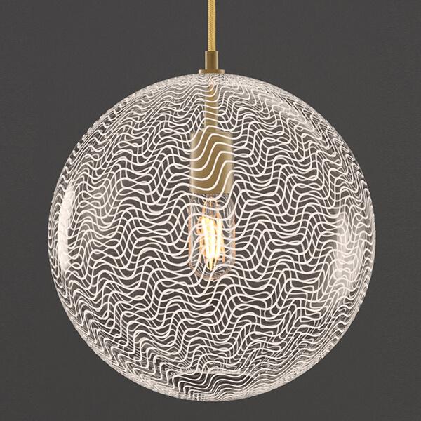 KEEP Cane Globe Pendant Light Pearl Drift Pattern