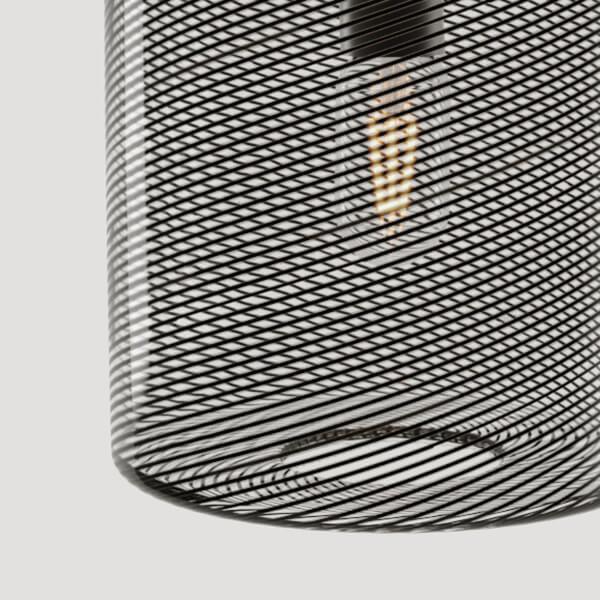 KEEP Cane Drum Pendant Light Charcoal Track Pattern
