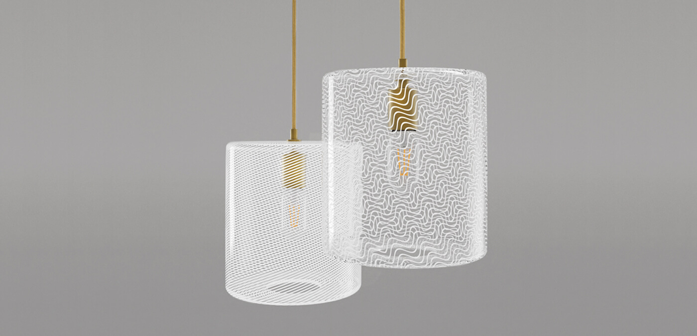 KEEP - CANE Drum Pearl Glass Pendant Light