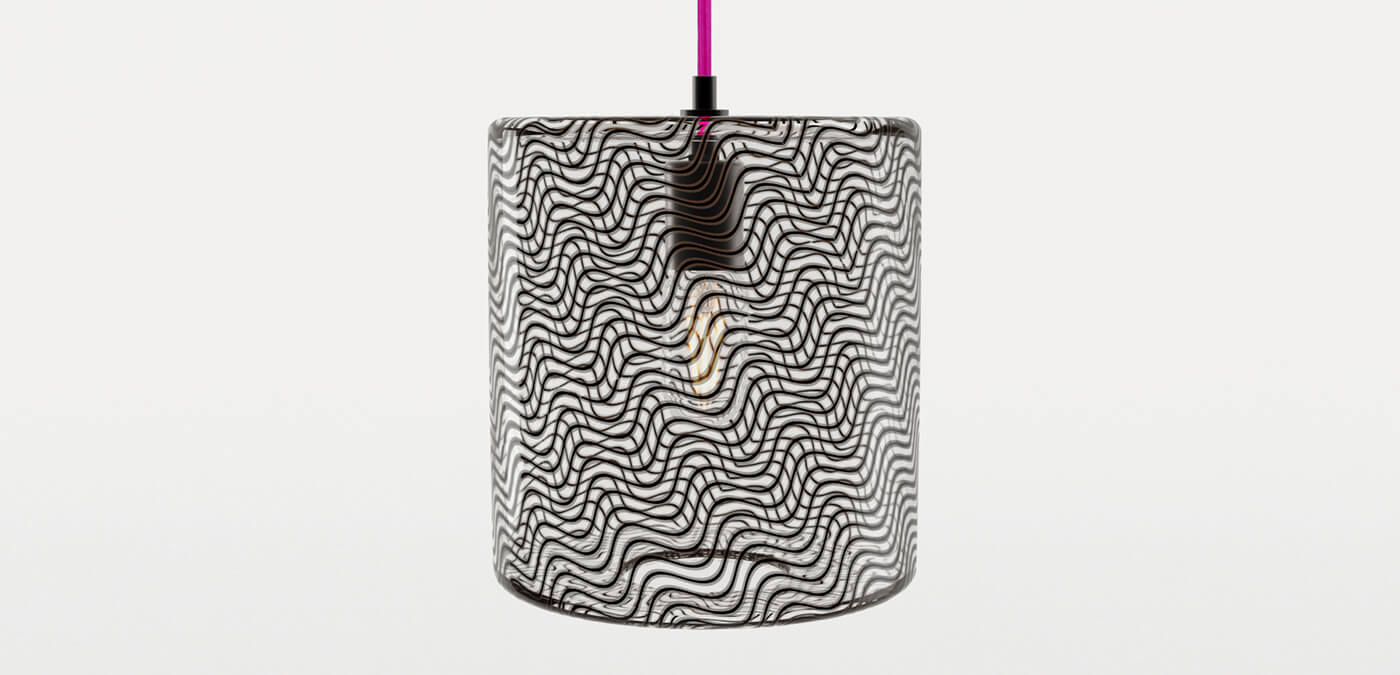 KEEP - CANE Drum Charcoal Glass Pendant Light