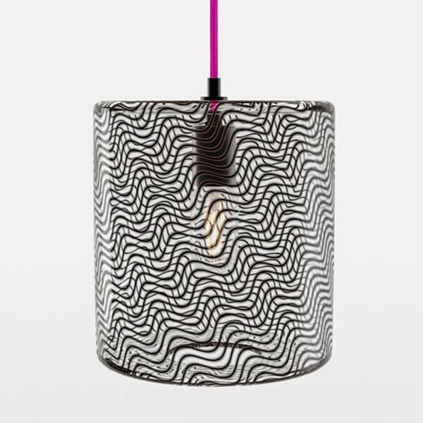 KEEP Cane Drum Pendant Light Charcoal Drift Pattern
