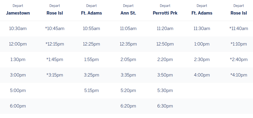 This is the departure schedule for the ferry.