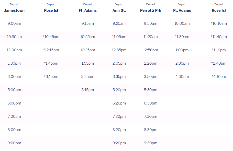 This is the departure schedule for the ferry from a different location.