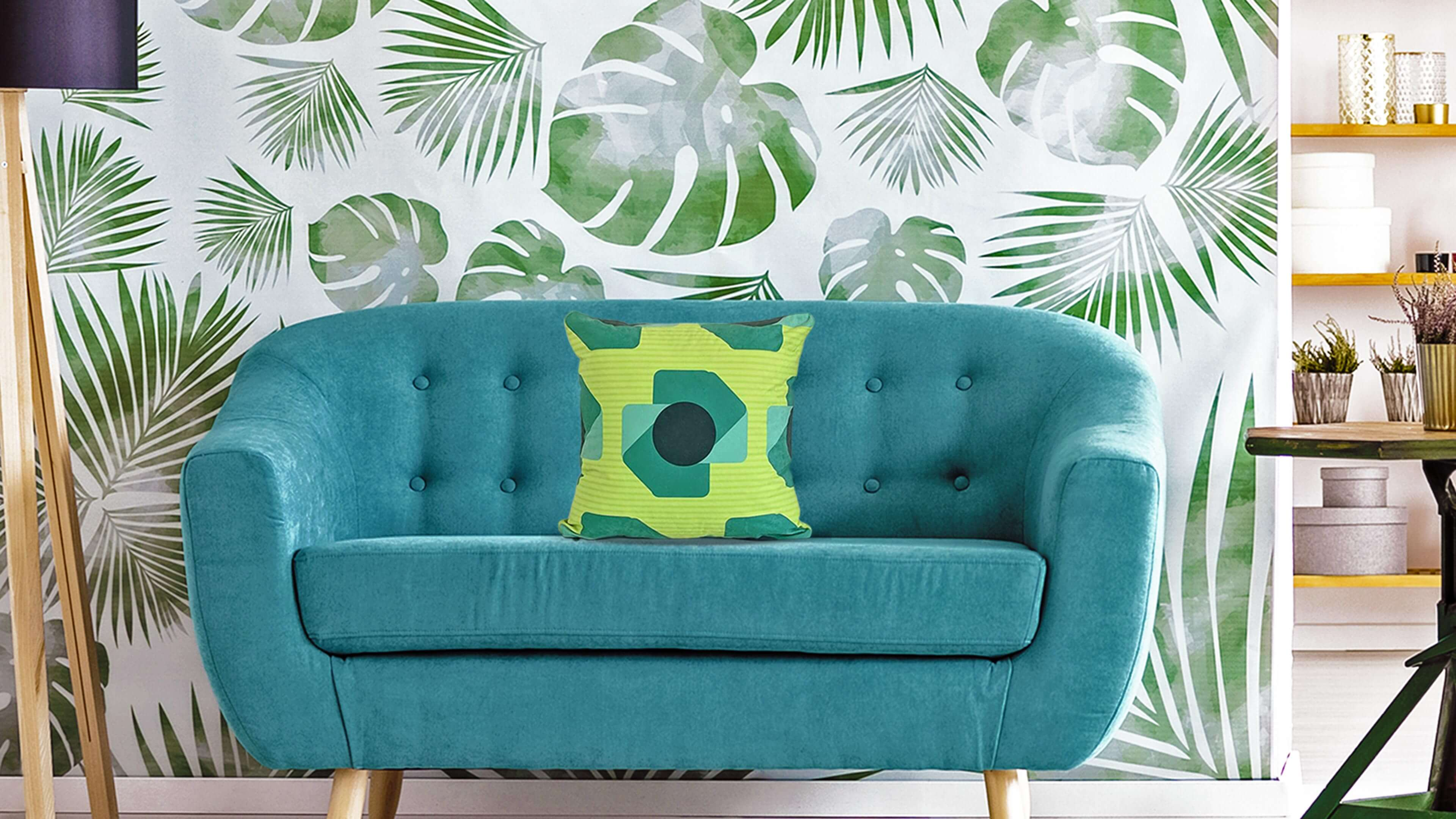 Green faux suede throw pillow on teal living room couch