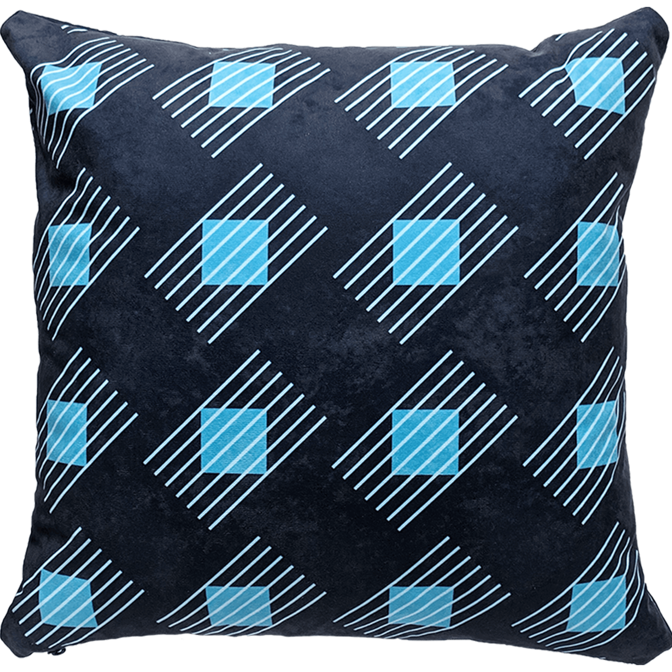 Patterned faux suede blue throw pillow. Sky blue diagonal lines, powder blue squares, navy background.