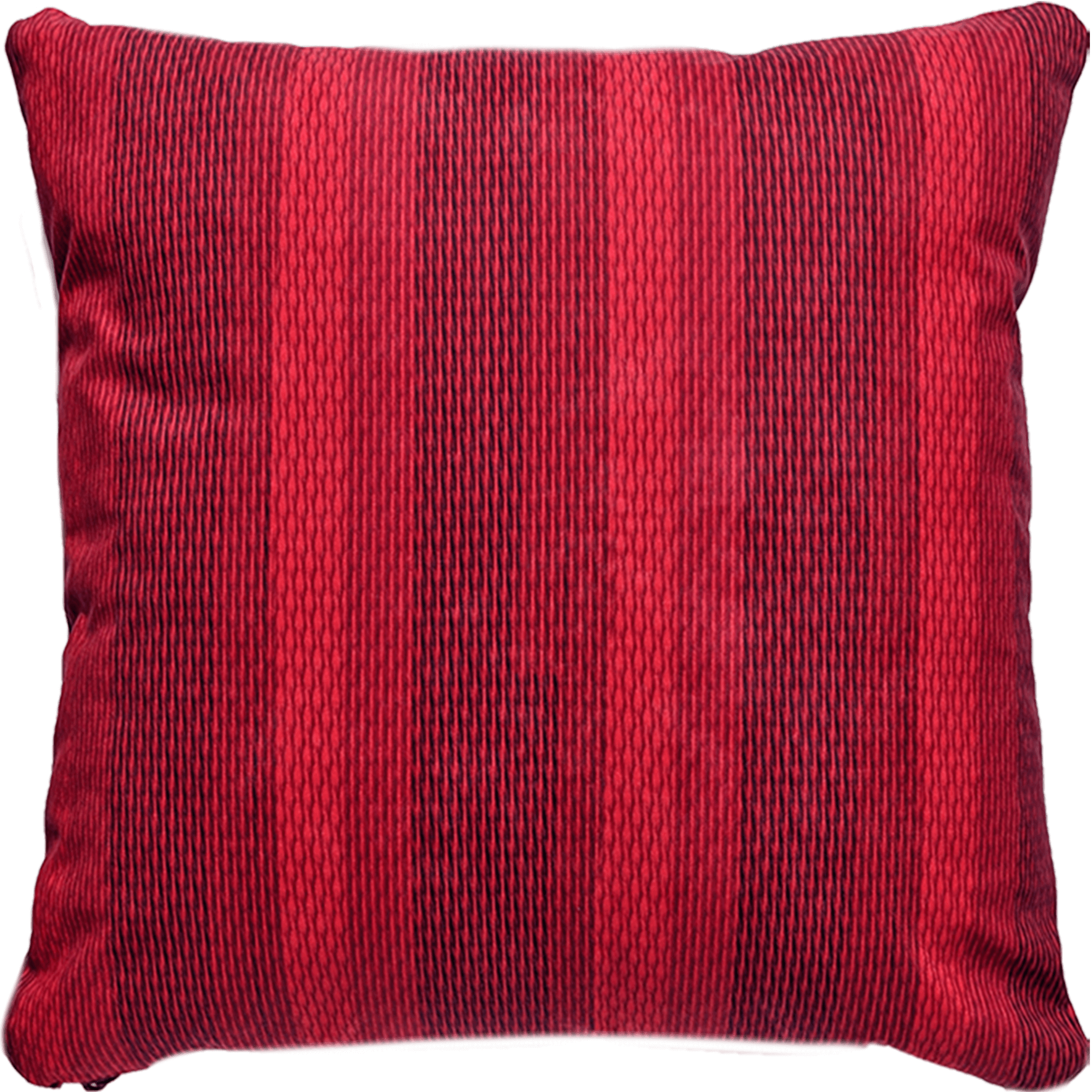 Patterned faux suede red throw pillow. Dark red, ruby and crimson vertical lines.
