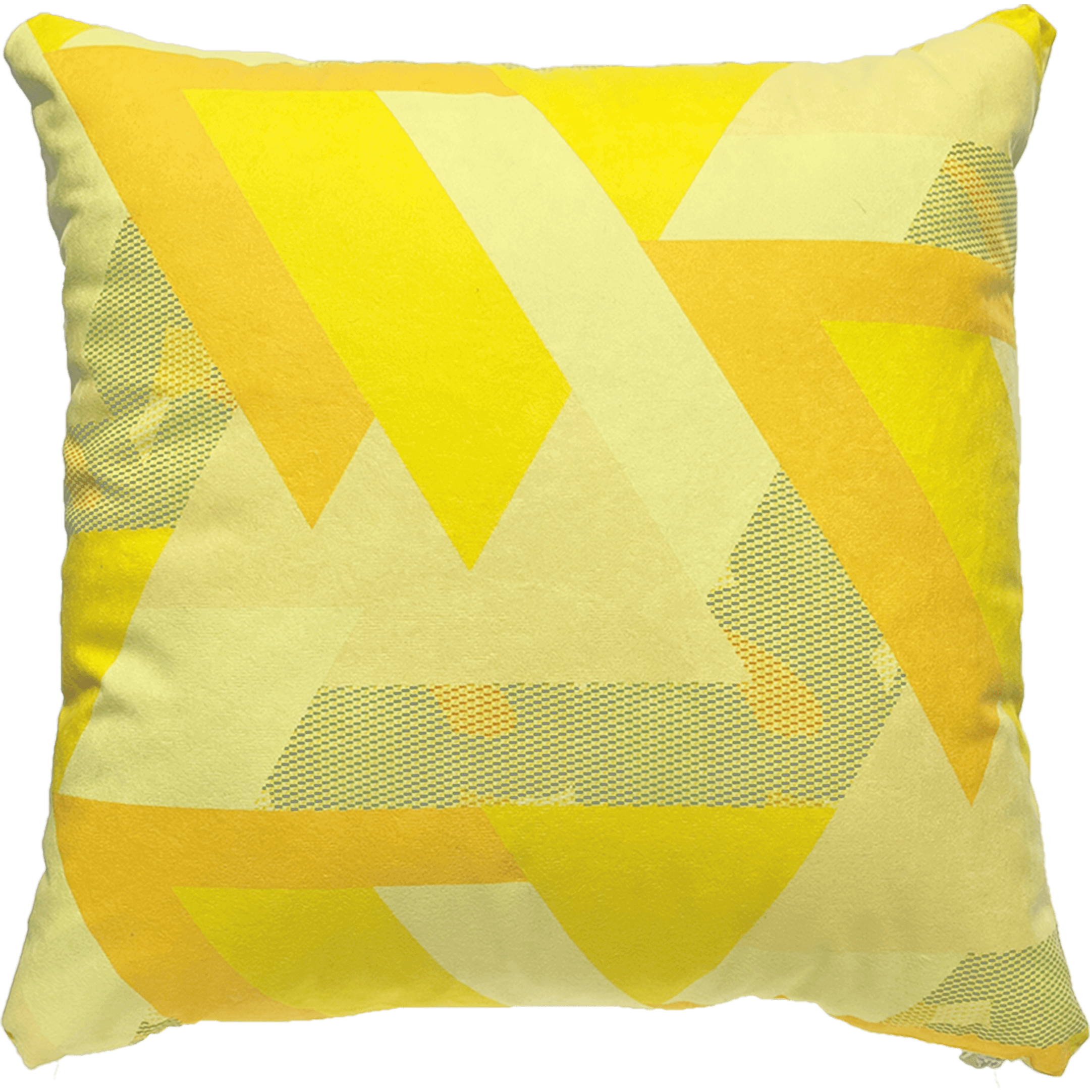 Patterned faux suede yellow throw pillow. Yellow, orange and peach triangles with a blue and orange pattern.