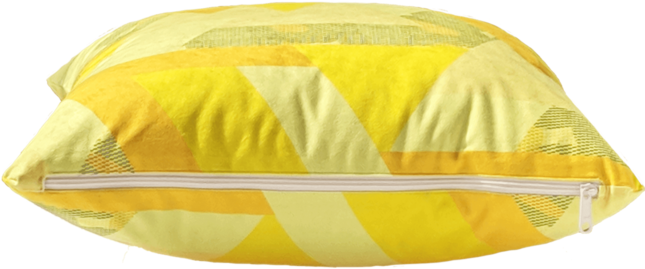 Yellow removable washable throw pillow with zipper showing