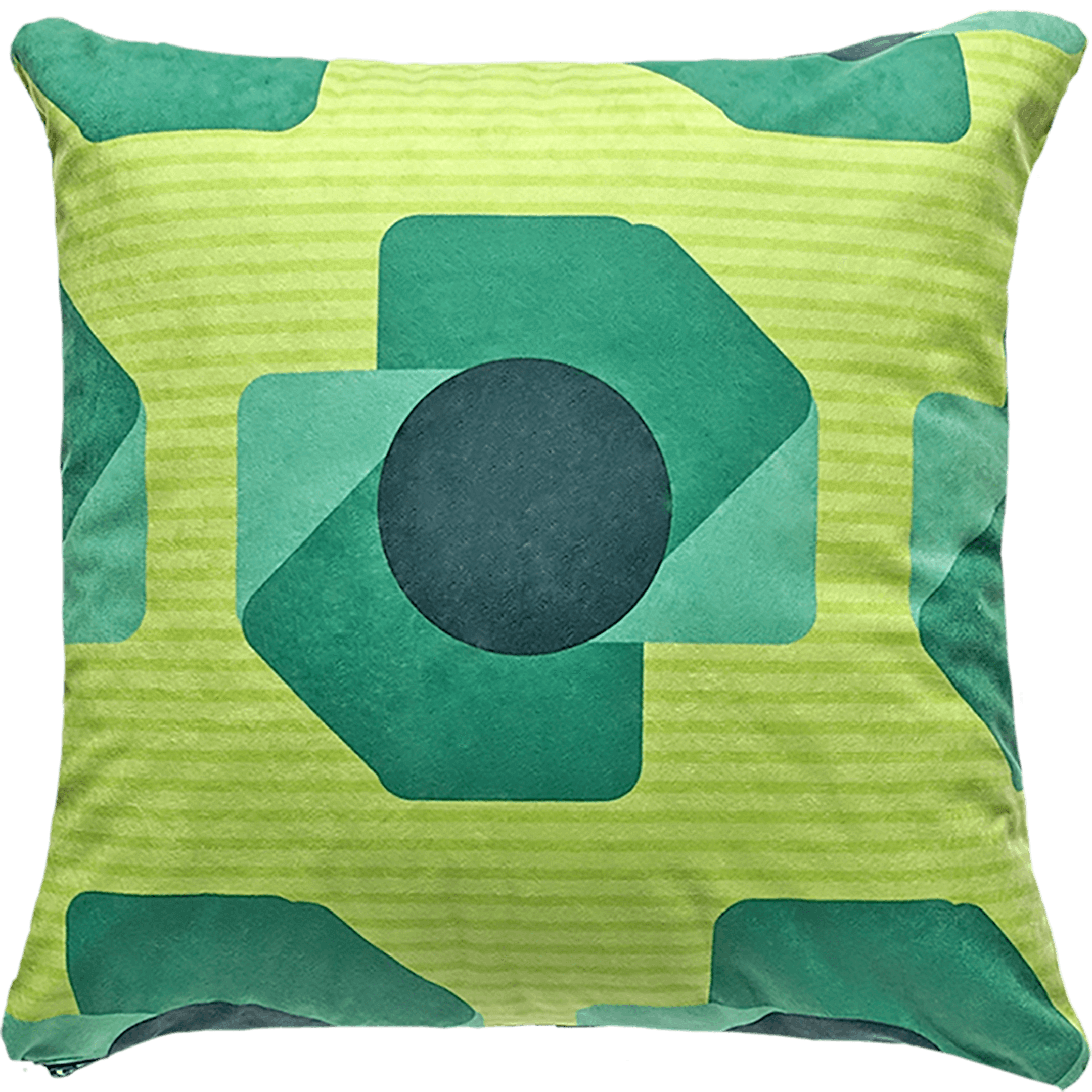 Patterned faux suede green throw pillow. Mint ,green blue and blue-gray shapes on top of lime green and light green stripes.