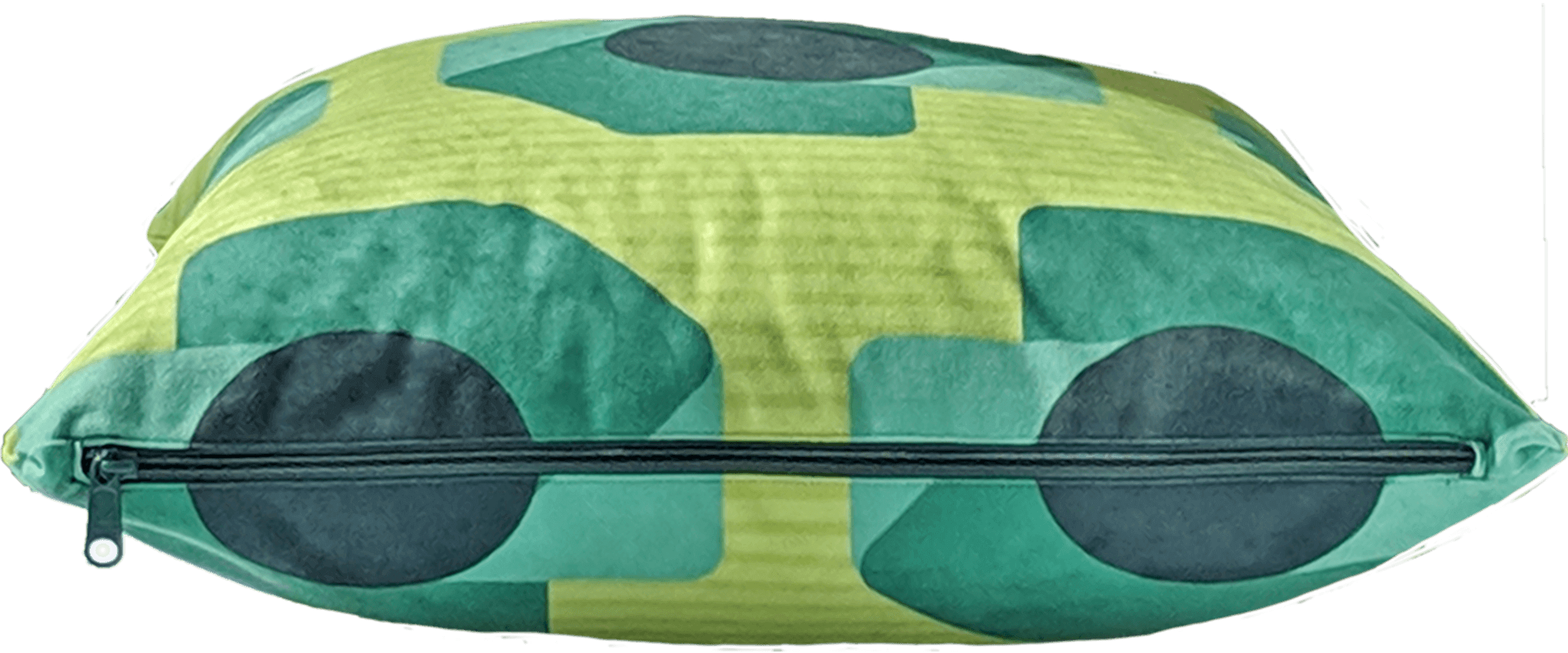 Green removable washable throw pillow with zipper showing