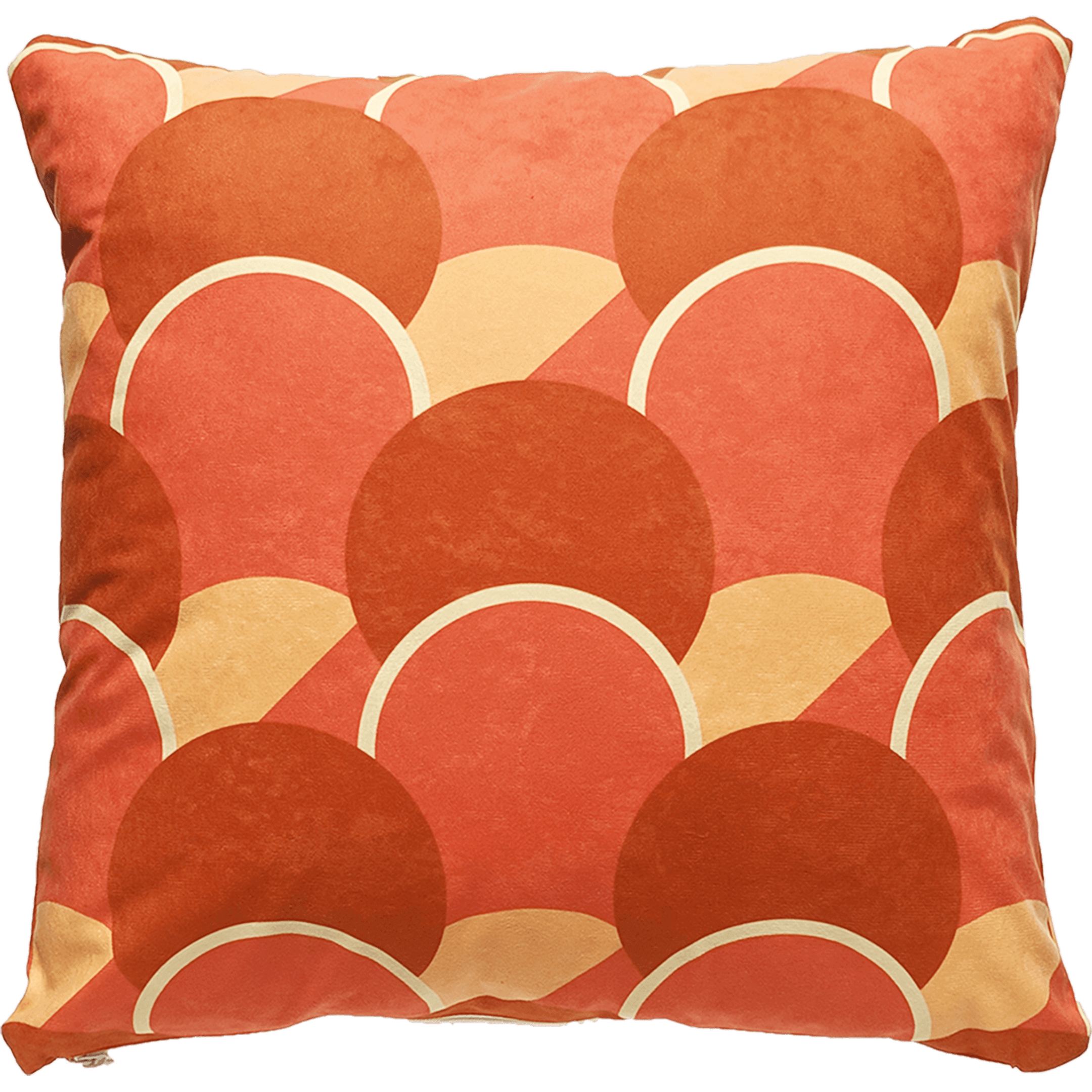 Patterned faux suede orange throw pillow. Peach, red orange and dark orange circular forms lined in ivory.