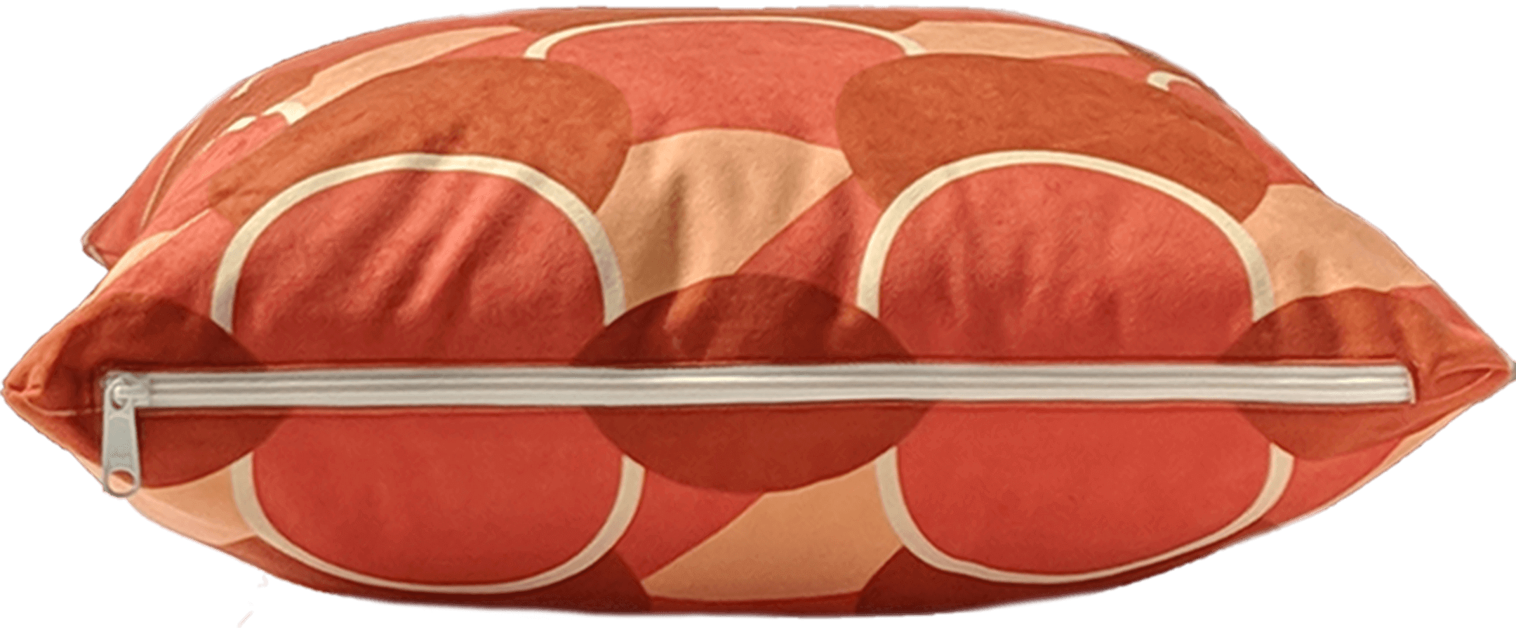 Orange removable washable throw pillow with zipper showing