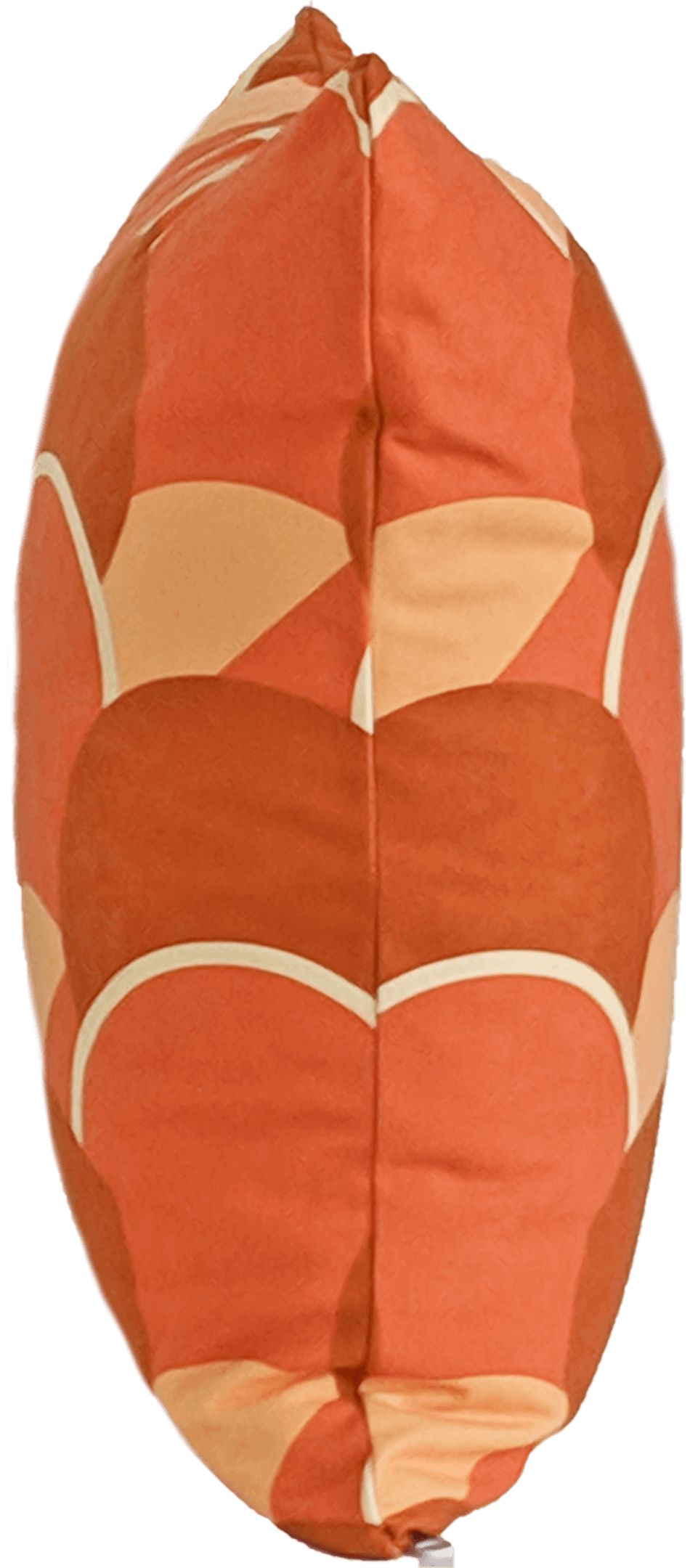 Orange faux suede throw pillow showing same pattern on both sides