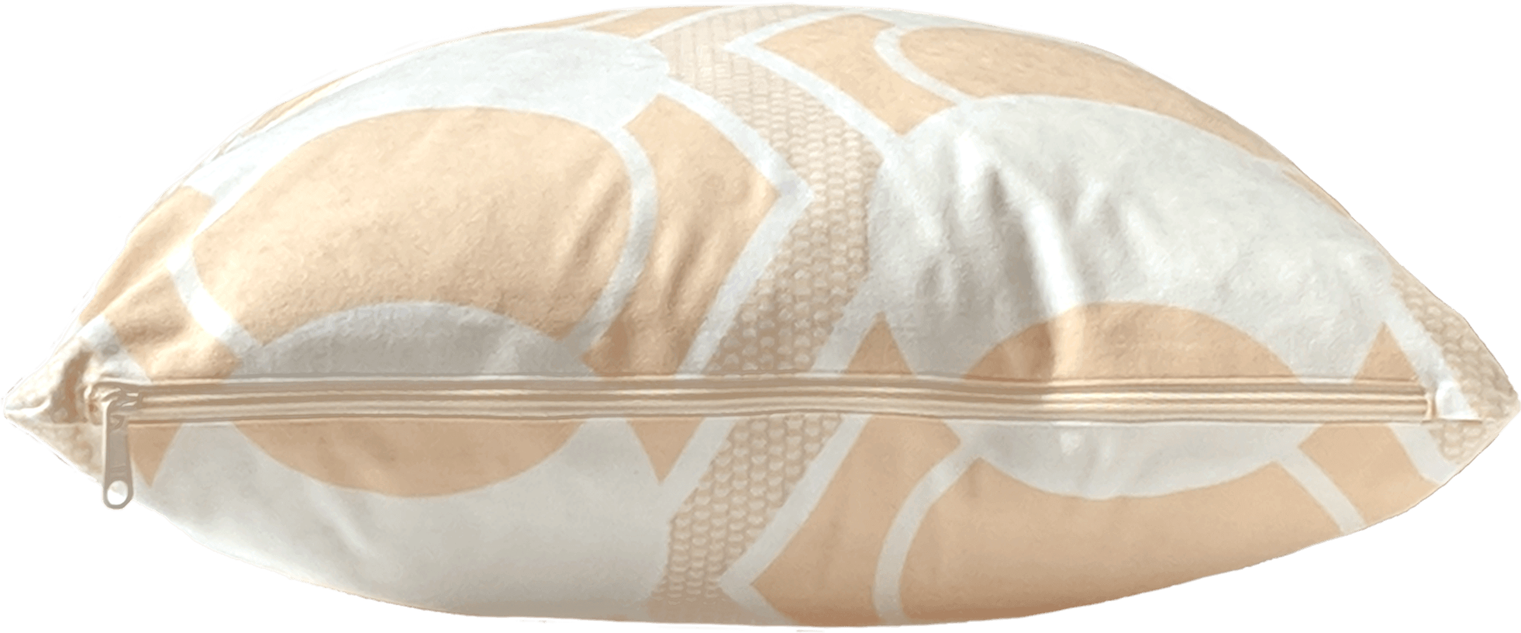 White, peach and ivory removable washable throw pillow with zipper showing