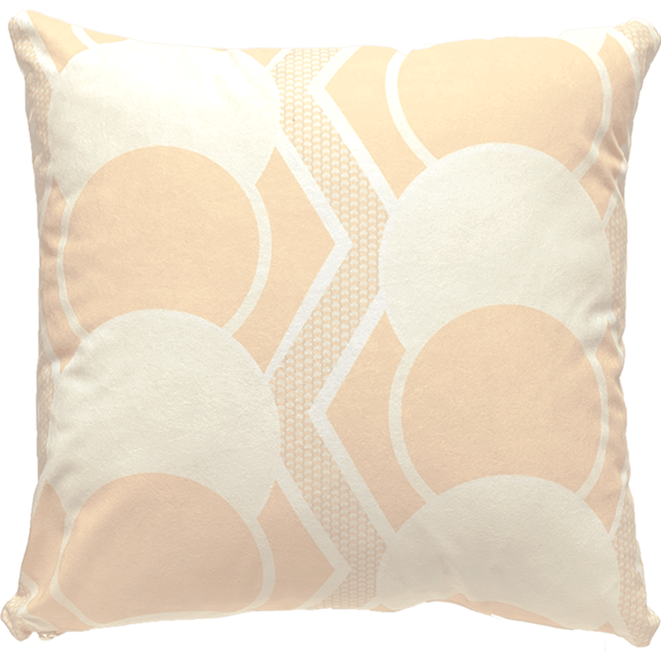 Patterned faux suede white, peach and ivory throw pillow. Cream and peach circles outlined in white. Snakeskin pattern in between circles.