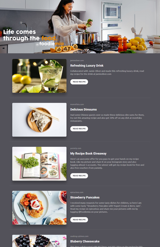 Food Influencer template