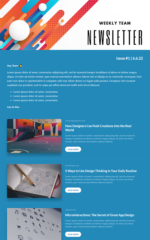 Preview of a team newsletter template