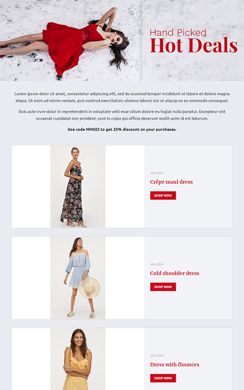 Preview of offers & deals pages template