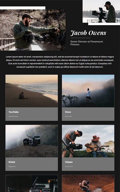Preview of a video production portfolio template
