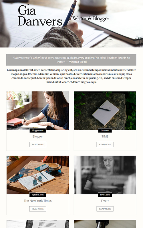 Preview of a writer portfolio template