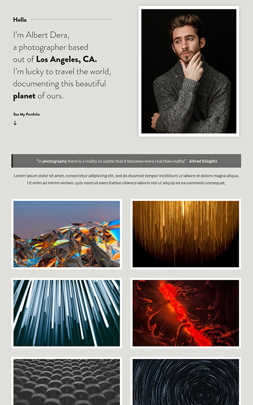Preview of a photography influencer template