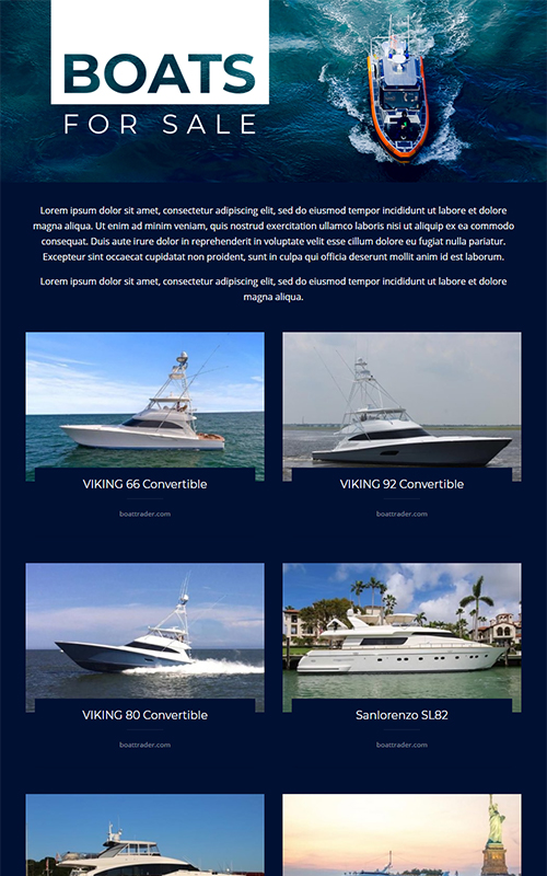 Preview of a boats for sale template