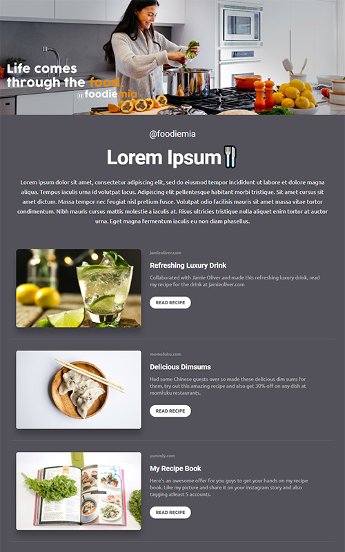 Preview of a food influencer template