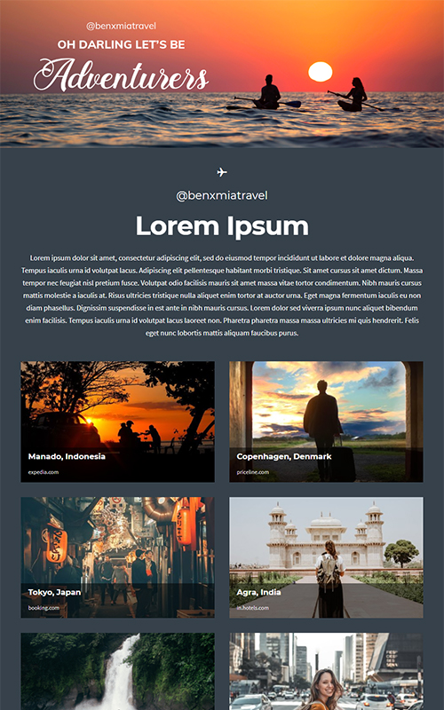 Preview of a travel influencer template