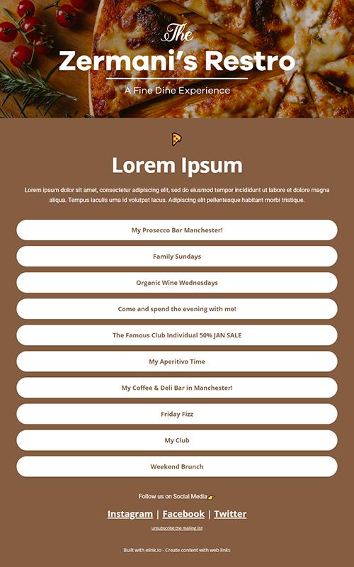 Preview of a restaurant insta bio link influencer template