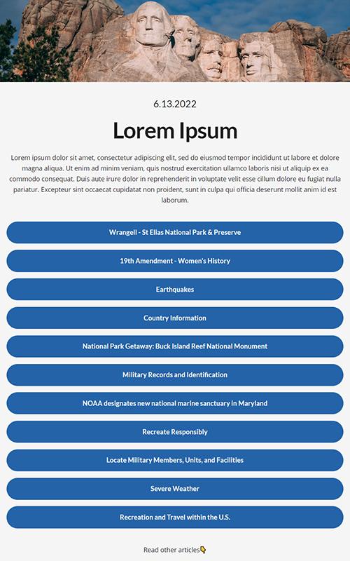 Preview of a gov/city insta bio link influencer template