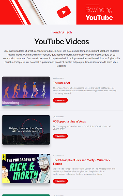 Preview of a top video pages template