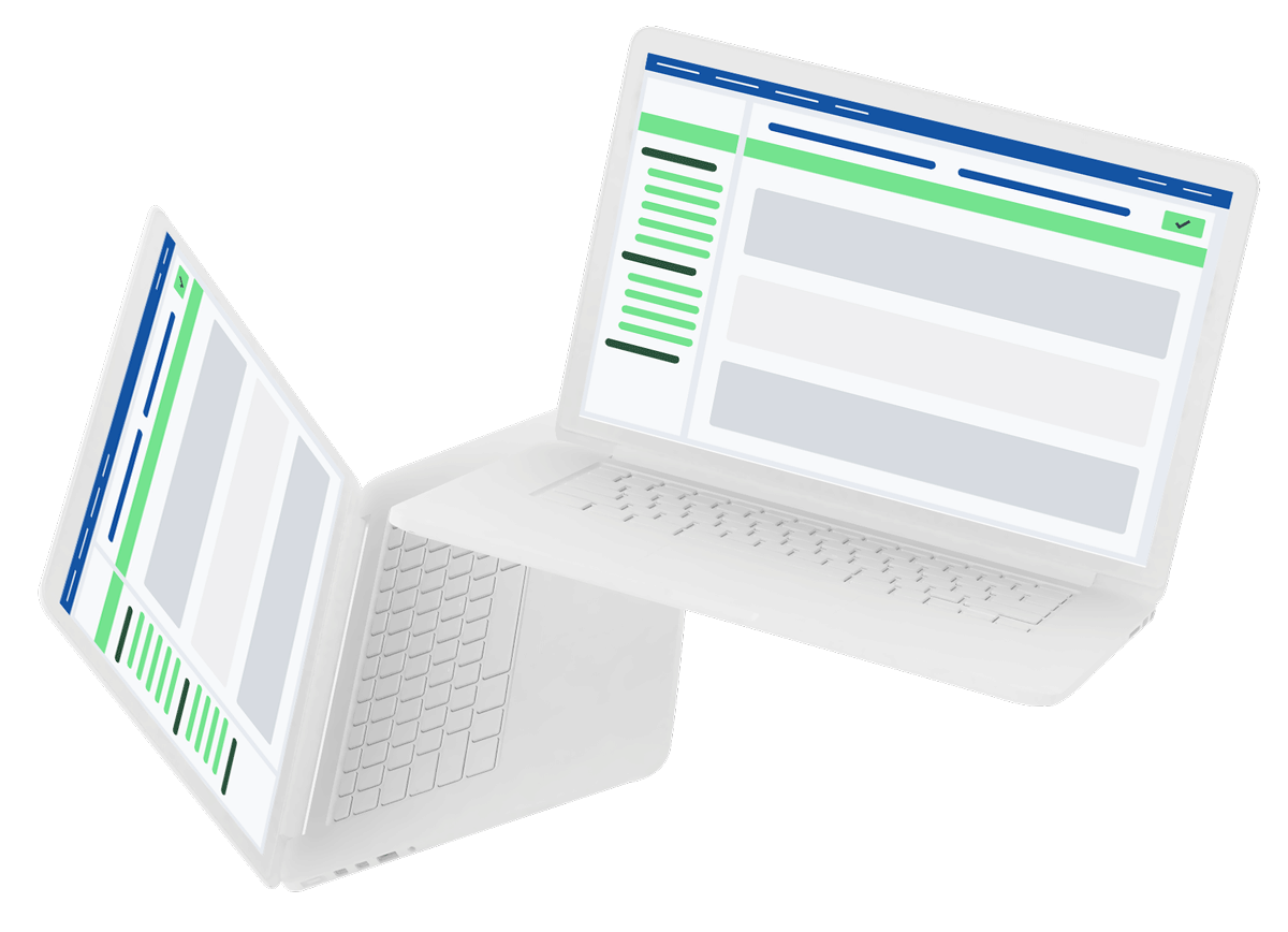Two computers with Fieldly project management tool
