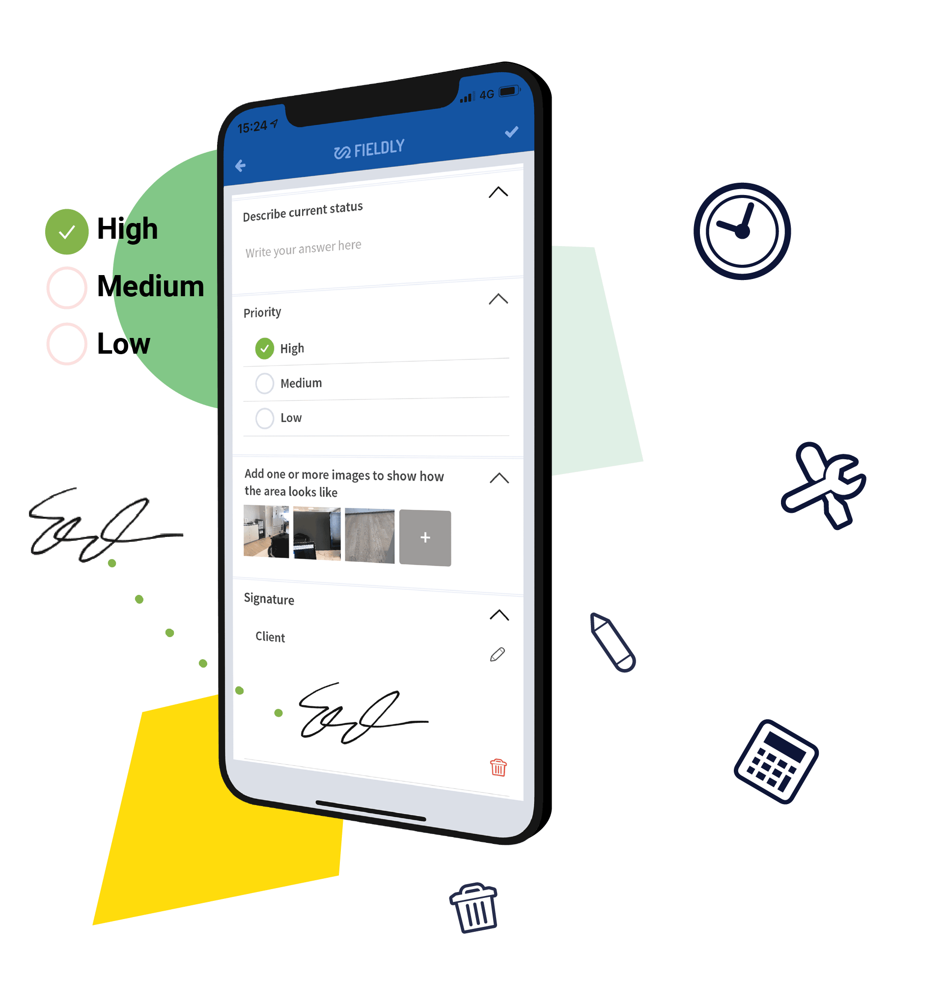 A phone with Fieldly app opened which shows checklists