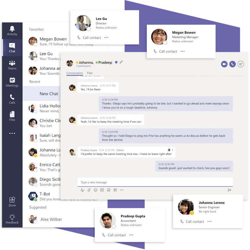Image of Microsoft Teams chat features