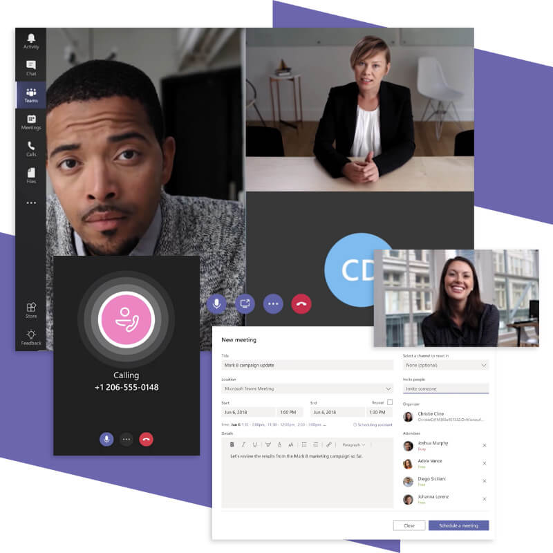 Image of Microsoft Teams call and meeting features
