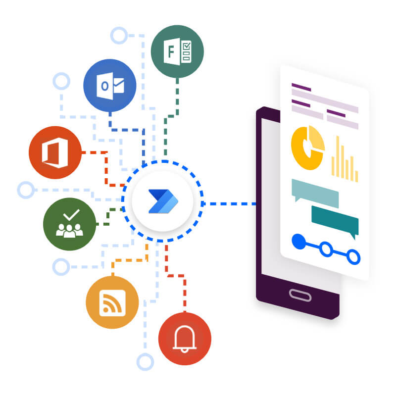 An app connecting to common data services using Power Automate.