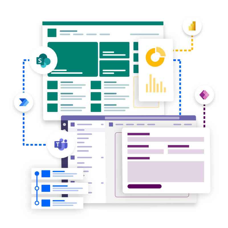 Power Platform integrating with SharePoint and Teams.