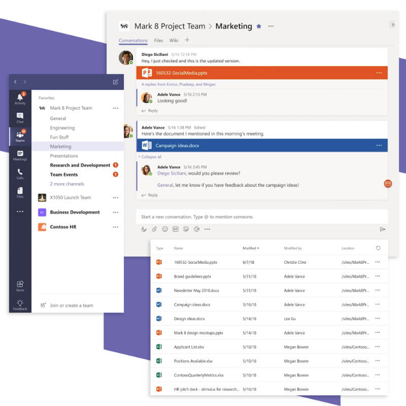 Microsoft Teams collaboration features.