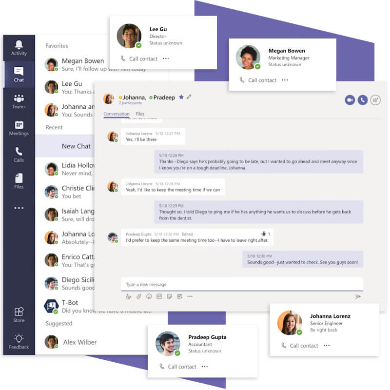 Microsoft Teams chat features.