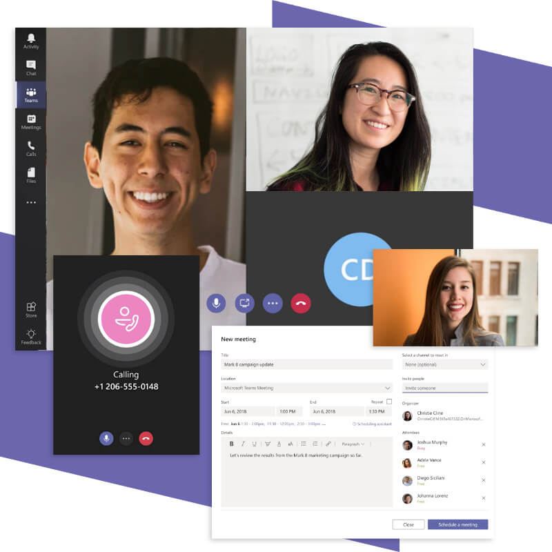 Microsoft Teams call and meeting features.