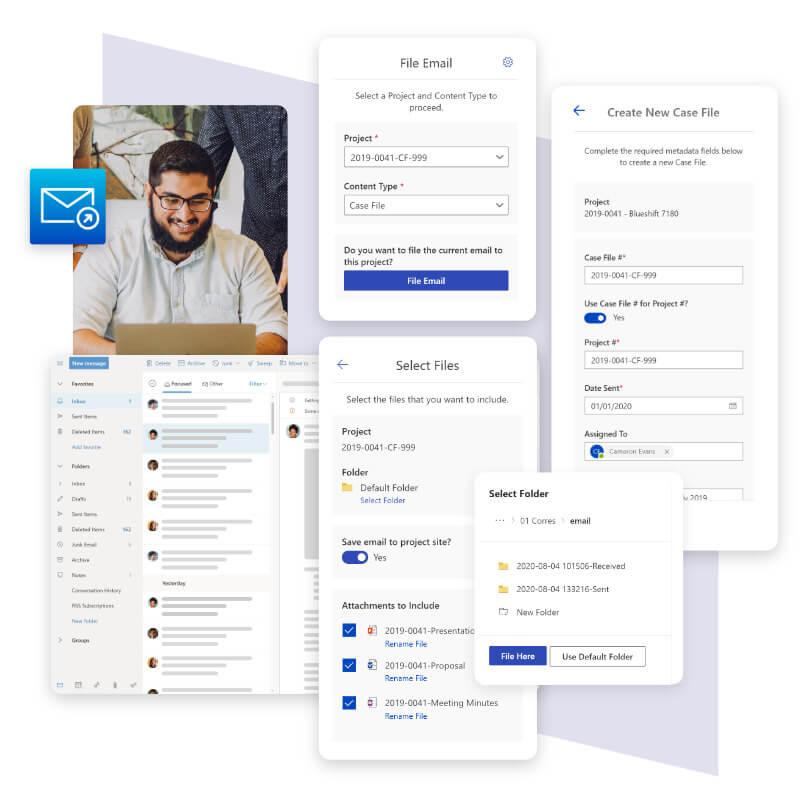 An Employee using Blueshift's custom developed MailPorter Outlook Add-in.