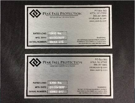 Mechanical industrial mass engraving for Peak Fall produced by FiveStar Awards