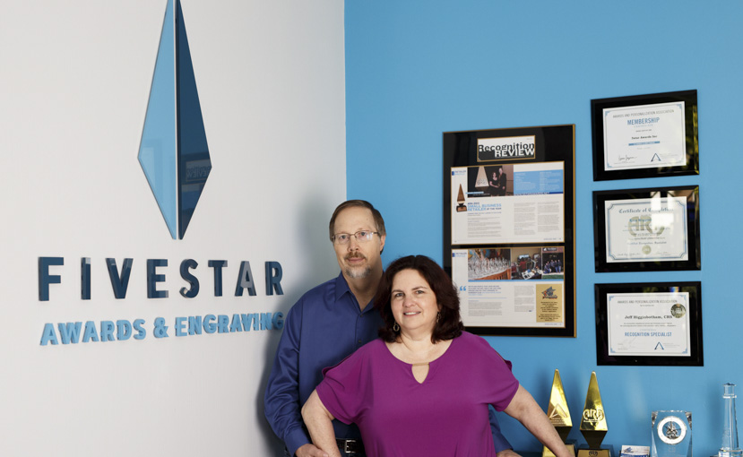 FiveStar Awards & Engraving owners Lisa and Jeff Higgenbotham