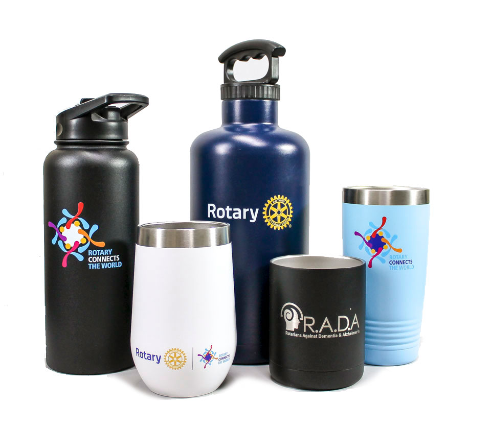 Rotary tumbler mugs designed by FiveStar Awards and Engraving