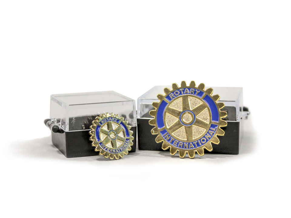 Rotary pins produced by FiveStar Awards and Engraving in Cary Raleigh NC