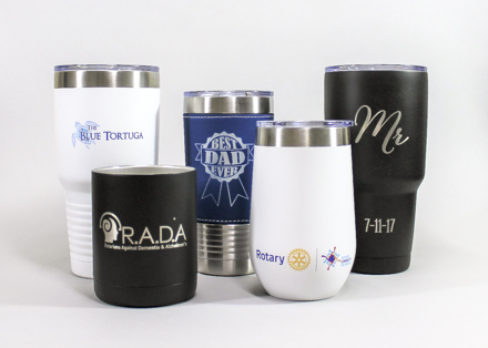 tumblers produced by fivestar awards engraving in raleigh nc