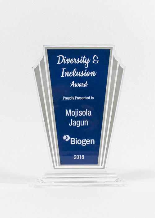 Laser engraved award for Biogen produced by FiveStar Awards & Engraving